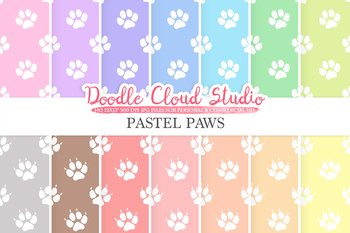 2 Sets of Pastel Paws digital paper, Paw Prints pattern, Digital Paws