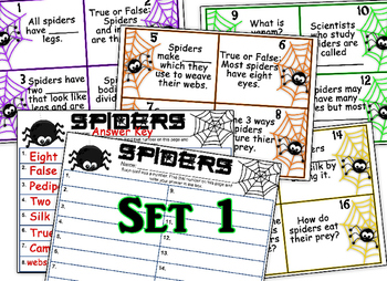 2 Sets of Spider Task Cards with and without QR codes!