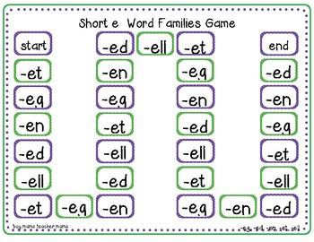 2 Short e Word Families Game (-ed, -et, -eg, -en, -ell)