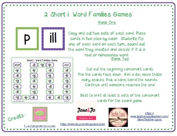 2 Short i Word Families Game (-ig, -ill, ip)