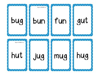 2 Short u Word Families Game (-ut, -un, -ug)