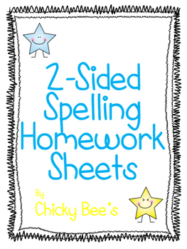 2-Sided Spelling Homework 10 Words