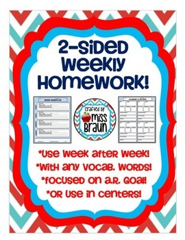 2-Sided Weekly Vocabulary and Reading Log Homework