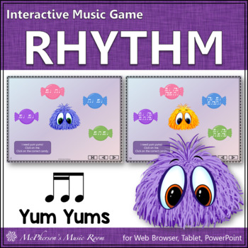Music Game: 2 Sixteenths & 1 Eighth Note Interactive Rhythm Game {Yum Yums}