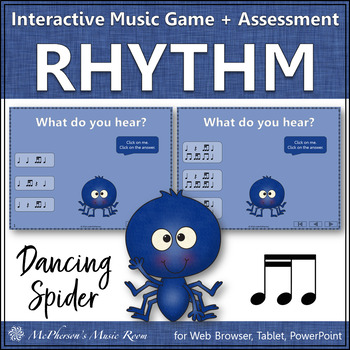 Rhythm Game: 2 Sixteenths/1 Eighth Interactive Music Game & Assessment {Spider}