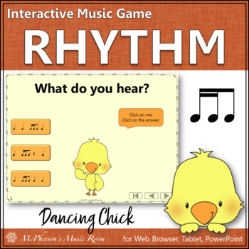 Spring Music Game: 2 Sixteenths/1 Eighth Interactive Rhythm Game {Dancing Chick}