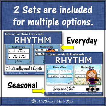 2 Sixteenths & 1 Eighth Note - Interactive Rhythm Flash Cards