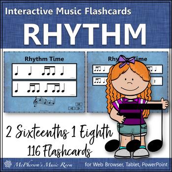 2 Sixteenths & 1 Eighth Note - Interactive Rhythm Flash Cards