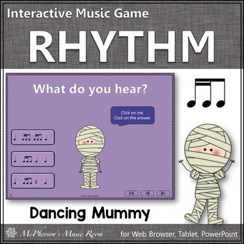 2 Sixteenths/1 Eighth Note Interactive Rhythm Game {Dancing Mummy}