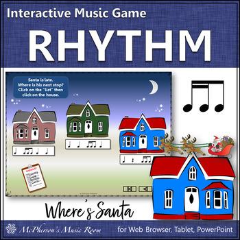 Christmas Music: 2 Sixteenths/1 Eighth Interactive Rhythm Game {Where's Santa?}