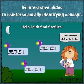Rhythm Game: 2 Sixteenths/1 Eighth Interactive Music Game + Assessment {Firefly}