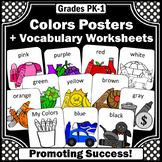 2 Sizes Teaching Colors Posters for Kindergarten, ESL Color Words Worksheets SPS