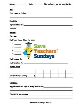 2 Sound investigation Lesson plans, Writing frames and Graph frames