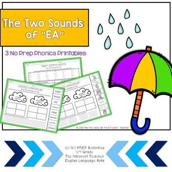 """Leaky Weather: Two Sounds of """"EA"""" NO PREP Phonics Printables"""