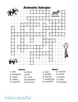 2 Spanish Crosswords Wild Animals Animales Salvajes with keys