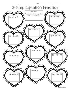 2-Step Algebraic Equation Math Practice Valentine Worksheet