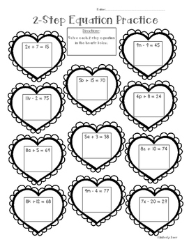 2-Step Algebraic Equation Math Practice Valentine Worksheet