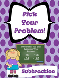 2 Step Word Problems - Subtraction and Differentiated!