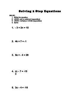 2 Step Equation Review