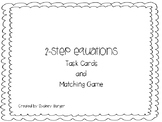 2-Step Equation Task Cards and Matching Game