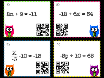 2 Step Equation Task Cards with Optional QR Codes (Word Problems Included)