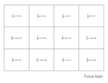 Memory Game - 2 Step Equations (Advanced)