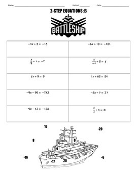 2-Step Equations Battleship
