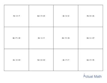 Memory Game - 2 Step Equations (Beginner)