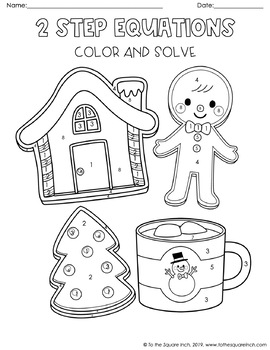 2 Step Equations Christmas Color and Solve