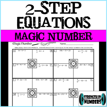 2-Step Equations Magic Number Practice Page (self-checking!)
