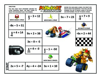 2-Step Equations Mario Kart Game