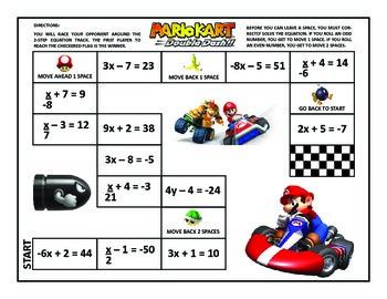 2-Step Equations Mario Kart Game