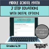 2 Step Equations Notes, Formative,  Digital Learning