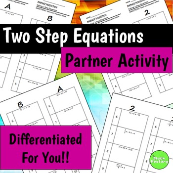 Two Step Equations Differentiated Self-Checking Partner Worksheets