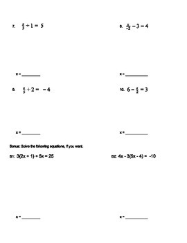 2-Step Equations Quiz