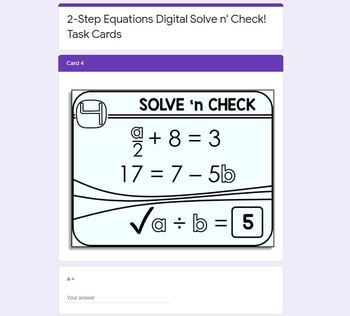 2-Step Equations Solve 'n Check! Task Cards