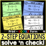 2-Step Equations Solve 'n Check! Task Cards - print and digital