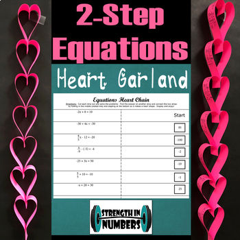 2-Step Equations Valentine's Day Self Checking Heart Garland Chain