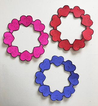 2-Step Equations Valentine's Day Self Checking Heart Wreath Activity