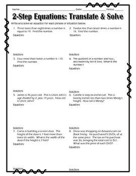 2-Step Equations - Word Problem Practice