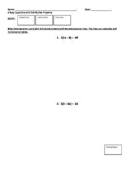 2 Step Equations and Distributive Property Test