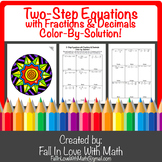 2-Step Equations with Fractions & Decimals Color-By-Number!