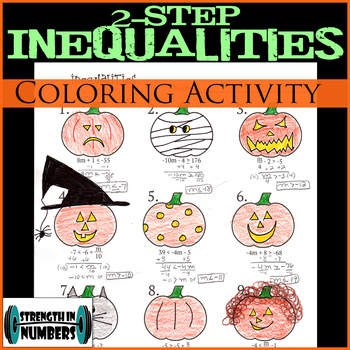 2-Step Inequalities Halloween Jack-O-Lantern Coloring Activity