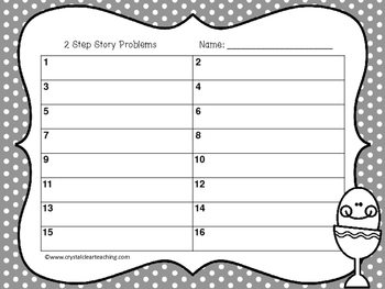 2 Step Story Problems - Easter themed Task Cards