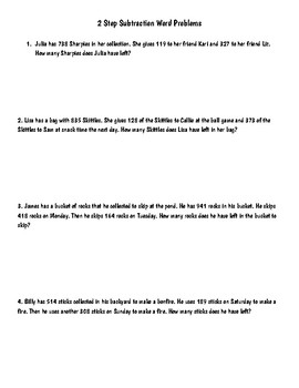 2 Step Subtraction Word Problems