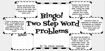 2 Step Word Problem Bingo