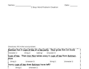 2 Step Word Problem Creation Editable