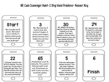 2 Step Word Problem QR Code Scavenger Hunt
