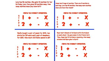 2- Step Word Problem Task Cards - Addition, Subtraction, and Multiplication