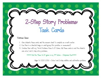 2-Step Word Problem Task Cards (CCSS 2.OA.1)